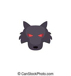hintergrund, kopf, wolf, weißes, böser