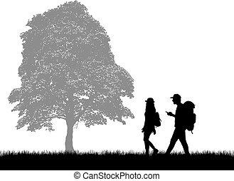 hintergrund., leute, silhouetten, natur, rucksäcke