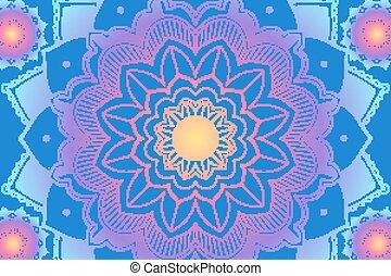 hintergrund, mandala, blaues, design