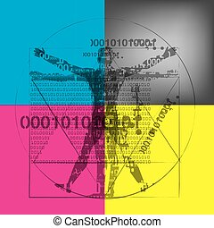 hintergrund., mann, vitruvian, binärer, codes, cmyk, farben