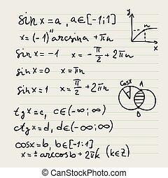 hintergrund, mathematisch, vektor, formulas.