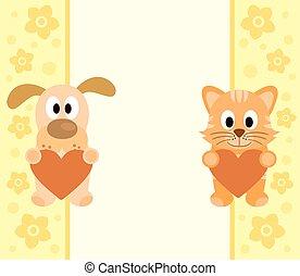 Hintergrund mit Cartoon Hund ,cat.