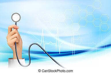 Hintergrund mit der Hand mit einem Stethoskop. Vector