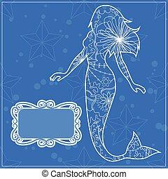 Hintergrund mit der Meerjungfrau.