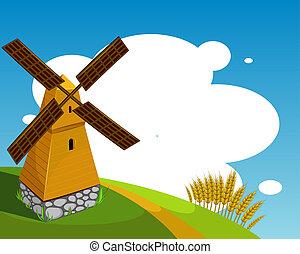 Hintergrund mit der Windmühle