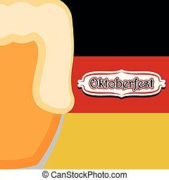 Hintergrund mit einem Bierkrug und der Flagge Deutschlands