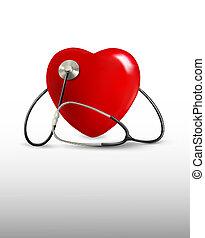 Hintergrund mit einem Stethoskop und einem Herz. Vector.