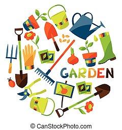 Hintergrund mit Gartendesignelementen und Ikonen.