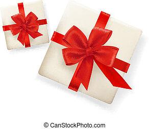 Hintergrund mit Geschenken und roten Bändern. Vektor Illustration
