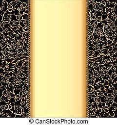 Hintergrund mit Goldschmuck und Textstreifen.