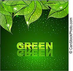 Hintergrund mit grünen Blättern.