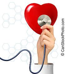 Hintergrund mit Hand mit einem Stethoskop gegen ein Herz. Vector.