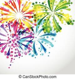 Hintergrund mit hellen bunten Feuerwerk und salutieren.