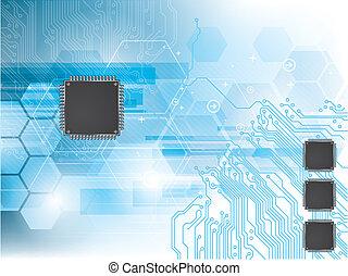 Hintergrund mit integrierter Schaltung und Datenverarbeitung.