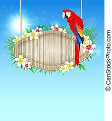 Hintergrund mit rotem Papagei.