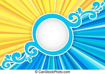 Hintergrund mit Sonnenstrahlen und Meer.