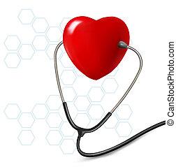 Hintergrund mit Stethoskop gegen Herz. Vector.