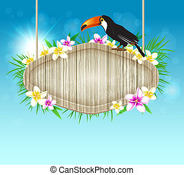 Hintergrund mit toucan und hölzernen Banner.