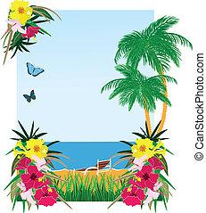Hintergrund mit tropischen Pflanzen