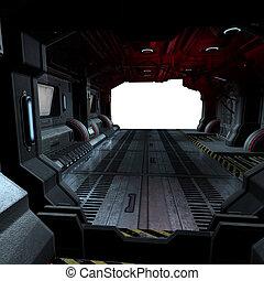 Hintergrund oder komponierendes Bild in einem futuristischen Scifi-Raumschiff
