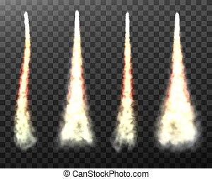 hintergrund, rakete, durchsichtig, rauchwolken, raum, freigestellt