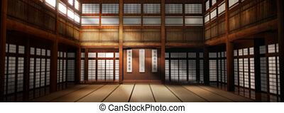 hintergrund., sein, hintergrund., dojo, heraus, abbildung, photographisch, schule, gebraucht, geleistet, karate, fokus, 3d