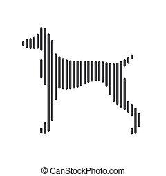 hintergrund., silhouette, hund, vektor, weißes, liniert