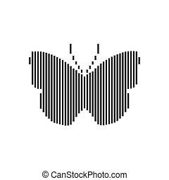 hintergrund., silhouette, papillon, vektor, weißes, liniert