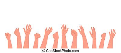 hintergrund., stil, weißes, abbildung, menschliche , klatschen, clap., wohnung, hände