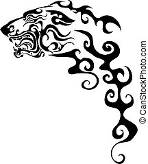 hintergrund, vektor, stilisiert, schwarz, gemalt, muster, logo, stil, freigestellt, abbildung, gegenstand, weißer hund
