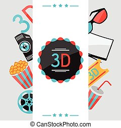 Hintergrund von Filmelementen und Kino-Ikonen.