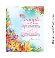 Hintergrund von Lilien und Iris Blumen.