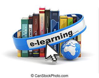 hintergrund., weißes, buecher, e-learning., erde