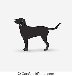hintergrund., weißes, vektor, silhouette, hund