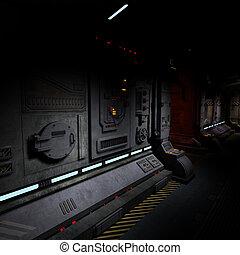 Hintergrundbild eines dunklen Korridors auf einem Schiff.