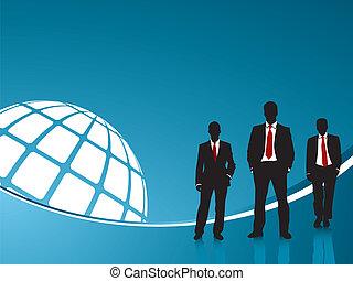 Hintergrundblau und Geschäftsleute
