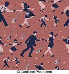 hintergrundmuster, tanz, seamless, brauner, schwingen