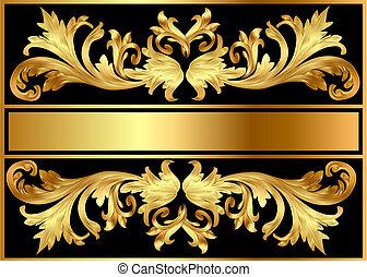Hintergrundschema von Gold auf Schwarz