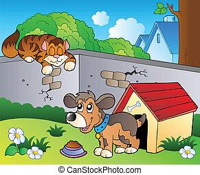 Hinterhof mit Cartoon Cat und Hund