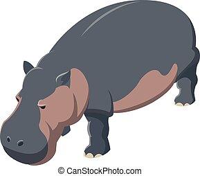Hippo isometrische Ikone.