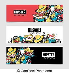 Hipster 3 interaktive horizontale Banner gesetzt.