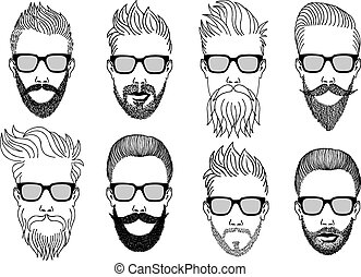 Hipster mit Bart, Vektor.