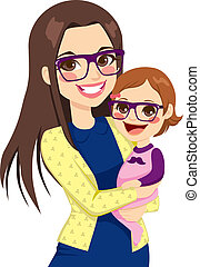 Hipster Mom und Baby.