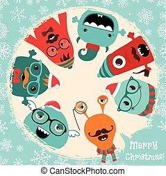 Hipster Retro Freaky Monster Weihnachtskarten Design
