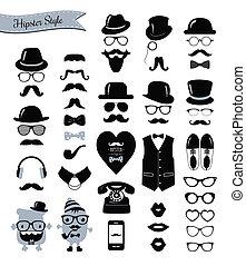 Hipster Retro-Symbolset.