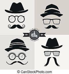 Hipstergläser, Hüte und Schnurrbart