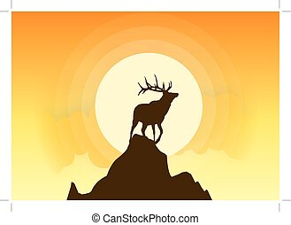 Hirsche Silhouette Vektor Sonnenuntergang