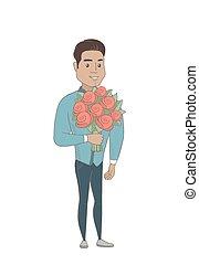 Hispanischer Geschäftsmann mit Blumenstrauß.