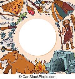 historisch, neandertaler, human., satz, uralt, primitiv, alter, stein, mann, bewohner, karikatur, stoneage, vektor, anciently, illustration., mammut, höhlenmensch, höhle