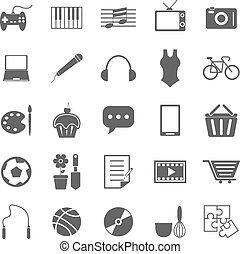 Hobby-Ikonen auf weißem Hintergrund